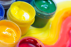 Gouache in jars Royalty Free Stock Images