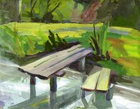 Gouache landscape. Sketch with footbridge Royalty Free Stock Photo