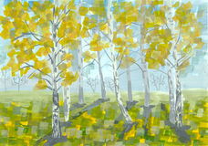 Gouache landscape. Early autumn. Birch trees. Stock Image