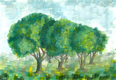 Gouache landscape with summer trees. Stock Photography