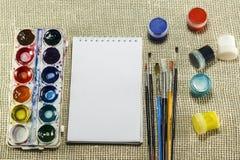Gouache, leeswijzers, waterverfverf, wit blad van document al FO Stock Afbeelding