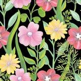 Gouache målad ljus sömlös modell för blommor och för sidor Royaltyfri Fotografi