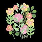 Gouache målad ljus vårbakgrund för blommor och för sidor Arkivfoton
