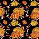 Gouache magic pumpkin seamless pattern stock illustration