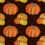 Gouache magic pumpkin seamless pattern royalty free illustration