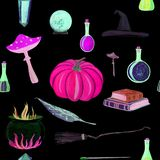 gouache magic seamless pattern with magic wand, elixir, books royalty free illustration