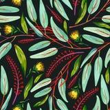 Gouache naadloos patroon met groene bladeren, rode bloementakken en gele bloem op een donkere achtergrond stock illustratie