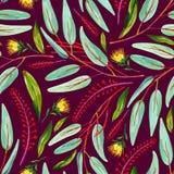 Gouache naadloos patroon met groene bladeren, rode bloementakken en gele bloem op een donkere roze achtergrond vector illustratie
