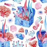 Gouache naadloze onderzeese oude borst met schat Hand-drawn clipart voor het kunstwerk en weddind ontwerp royalty-vrije illustratie