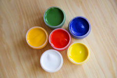 Gouache paint in the banks Royalty Free Stock Image