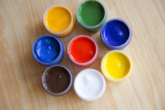 Gouache paint in the banks Royalty Free Stock Images