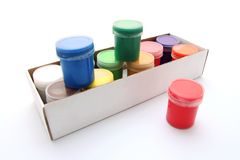 Gouache paint box. Gouache paint cans in box isolated on white background Stock Image
