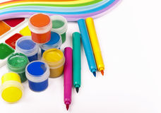 Gouache of paint and brush Royalty Free Stock Photo
