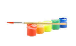Gouache paint and brush isolated Stock Image