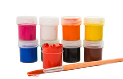 Gouache of paint and brush Stock Photography