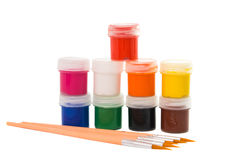 Gouache of paint and brush Royalty Free Stock Image