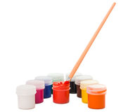 Gouache of paint and brush Stock Image
