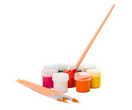 Gouache of paint and brush Royalty Free Stock Photos