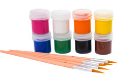 Gouache of paint and brush Royalty Free Stock Images