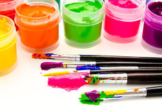 Gouache paint brush  on a white Royalty Free Stock Photos