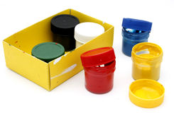 Gouache paint cans. On white background Stock Photography