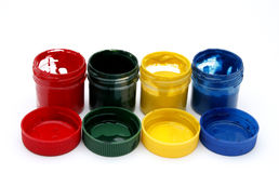 Gouache paint cans. On white background Royalty Free Stock Photography