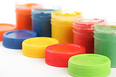 Gouache paint cans Royalty Free Stock Photo