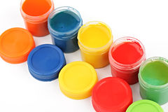 Gouache paint cans Royalty Free Stock Photography
