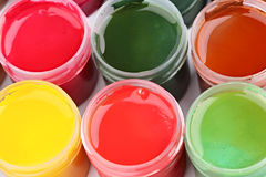Gouache paint cans Stock Image