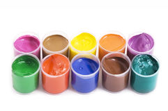 Gouache paint cans Royalty Free Stock Image