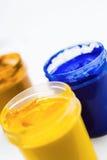 Gouache paint closeup. Gouache paint on white background. Closeup stock images