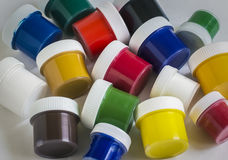 Gouache paint of different colors in closed banks Royalty Free Stock Photos