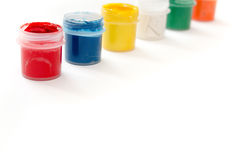 Gouache paint in jar isolated on white background. Stock Photography