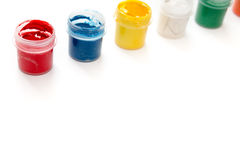 Gouache paint in jar isolated on white background. Royalty Free Stock Images