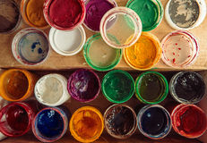 Gouache paint jars. Tools for creative work. Paintings Art Concept. Top view. Stock Photo