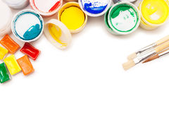 Gouache paint, watercolours and brushes Stock Image