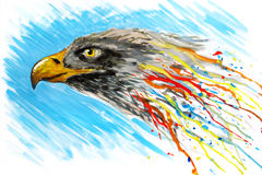 Gouache painted eagle Royalty Free Stock Image