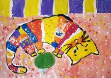 Gouache painting of a cat made by child stock images