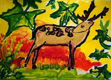 Gentle deer painted by child. Gouache painting of a deer in the forest. Made by child royalty free illustration