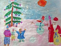 Happy New Year painted by child. Gouache painting of a New Year or Christmas party with Santa Claus or Grandfather Frost, happy kids, a snowman, a decorated tree royalty free illustration