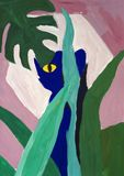 Gouache painting of panther royalty free stock photography