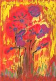 Gouache painting poppies royalty free illustration
