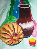 Still life with pumkin and vase painted by child. Gouache painting with a still life including a pumkin, an apple, and a vase. Made by child vector illustration