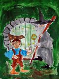 Hobbit and wizard painted by child. Gouache painting of two fairy tale characters made by child royalty free illustration