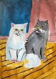 Persian cats painted by child. Gouache painting of two grumpy persian cats on the floor made by child stock illustration