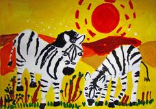 Zebras in savannah painted by child royalty free stock images