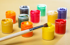 Gouache paints and brush Royalty Free Stock Photos