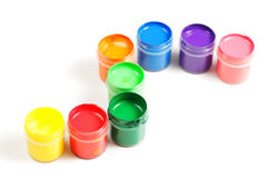 Gouache paints in cue Stock Image