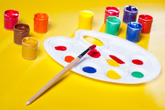 Gouache paints and watercolors Stock Photos