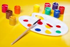 Gouache paints and watercolors Stock Photos